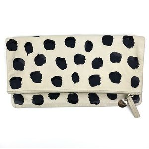 Clare V. Off White Leather Fold Over Pouch Clutch